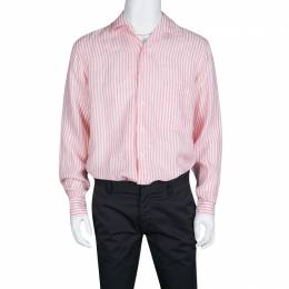 Loro Piana Pink and White Striped Linen Button Front Shirt L 133785
