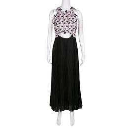 Giambattista Valli Floral Lace Cutout Waist Detail Plisse Maxi Dress M 138406