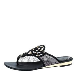 Rene Caovilla Black Embellished Lace and Satin Flat Sandals Size 38 137363