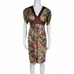 Just Cavalli Multicolor Printed Lurex Detail Short Sleeve Dress S 134455