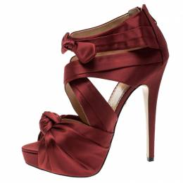Charlotte Olympia Red Satin Andrea Cross Strap Knotted Platform Sandals Size 41 133450