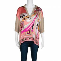 Emilio Pucci Multicolor Printed Silk and Wool Short Sleeve High Low Top S 136983