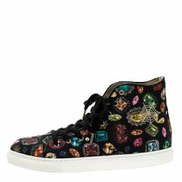 Charlotte Olympia Multicolor Jewel Print Canvas High Top Sneakers Size 38.5 133430