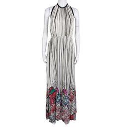 Elie Saab Monochrome Striped Silk Floral Print Halter Maxi Dress S 138367