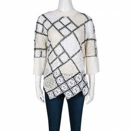 Oscar De La Renta Cream Lace and Crochet Patchwork Sweater M 136385