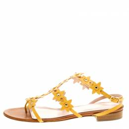 Oscar De La Renta Yellow Floral Jenisa Ankle Strap Flat Sandals Size 37 137657