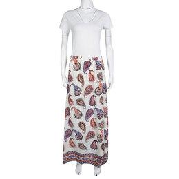 Tory Burch New Ivory Dapper Paisley Print Pleated Silk Maxi Skirt S 133986