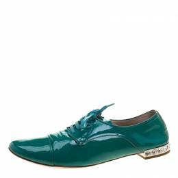 Miu Miu Aquamarine Patent Leather Crystal Heel Lace Up Derby Size 38.5