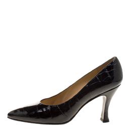Stuart Weitzman Black Patent Croc Embossed Leather Pumps Size 38.5 129902