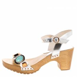 Sophia Webster Metallic Silver Crystal Embellished Leather Amanda Ankle Strap Sandals Size 40 127421