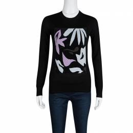 Dior Black Sequined Panel Detail Cashmere Sweater M 128487