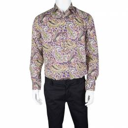 Etro Multicolor Paisley Print Long Sleeve Button Front Shirt L