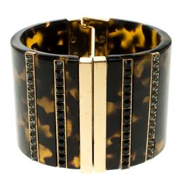 Etro Brown Plexiglas Gold Tone Wide Cuff Bracelet 17cm