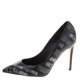 Le Silla Black Crystal Embellished Leather Pointed Toe Pumps Size 37.5 113171