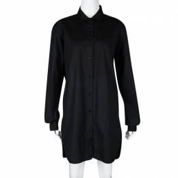Ermanno Scervino Black Cotton Long Sleeve Button Front Shirt Dress L 111824