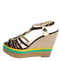 Loriblu Tricolor Suede And Leather Wedge Espadrille Platform Sandals Size 40 106705