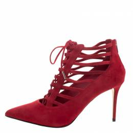 Le Silla Red Suede Caged Lace Up Ankle Boots Size 40 112012