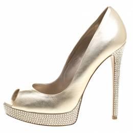 Le Silla Gold Metallic  Leather Crystal Embellished Platform  Peep Toe Pumps Size 38.5 99019