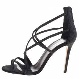 Le Silla Black Crystal Embellished Suede Strappy Sandals Size 38 99013