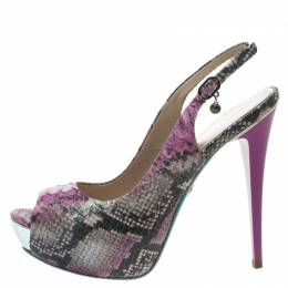 Loriblu Two Tone Faux Python Peep Toe Slingback Sandals Size 38 106740