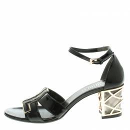 Loriblu Black Patent Leather Ankle Strap Sandals Size 37 104295