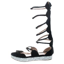 Giambattista Valli Black Suede Glitter Platform Flat Gladiator Sandals Size 38.5 159010