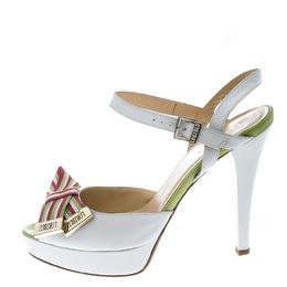 Loriblu White Leather Ankle Strap Peep Toe Platform Sandals Size 40 160565