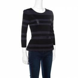 Dior Grey and Black Striped Knit Long Sleeve Peplum Top S 160598
