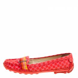 Celine Red Jacquard Fabric Macadam Loafers Size 40.5 163035
