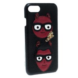 Dolce&Gabbana Black Leather Devil Designers Face Patch iPhone 7 Case