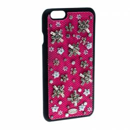 Dior Pink Crystal and Fabric Stardust Embellished IPhone 6 Case 164207