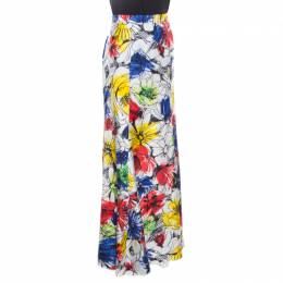 Boutique Moschino Multicolor Floral Sketch Printed Silk Maxi Skirt M 163639