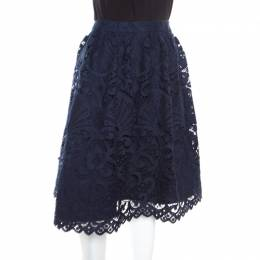 Alice + Olivia Sapphire Blue Floral Guipure Lace Gathered Joyce Skirt L 165025