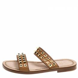 Christian Louboutin Brown Leather Studded Flat Sandals Size 42 165826