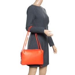 Celine Orange Leather Side Lock Dragonne Shoulder Bag 166618