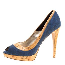 Loriblu Blue/Beige Suede and Cork Print Patent Leather Peep Toe Platform Pumps Size 40 168171