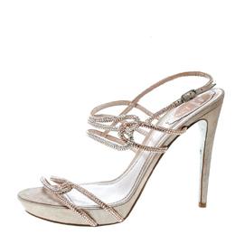 Rene Caovilla Blush Pink Crystal Embellished Satin Ankle Strap Sandals Size 41 170209