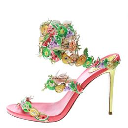 Rene Caovilla Multicolor Leather Fruit Applique Ankle Wrap Sandals Size 40 170223