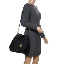 MCM Black Visetos Nylon Drawstring Bucket Bag 169921