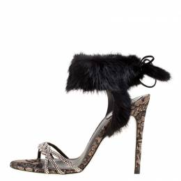 Rene Caovilla Black Crystal Embellished Satin With Fur Ankle Cuff Open Toe Sandals Size 39 170298