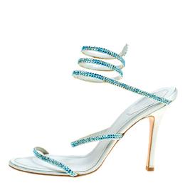 Rene Caovilla Metallic Blue Crystal Embellished Ankle Wrap Sandals Size 40 170446