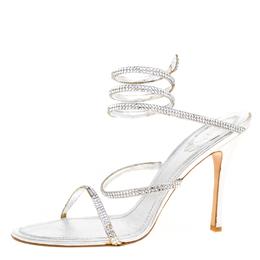 Rene Caovilla Metallic Silver Crystal Embellished Ankle Wrap Sandals Size 41 170435