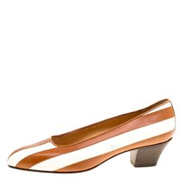 Celine White/Beige Leather Pumps Size 36 170432
