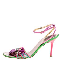 Rene Caovilla Multicolor Satin Crystal Flower Embellished Ankle Strap Sandals Size 41 170477