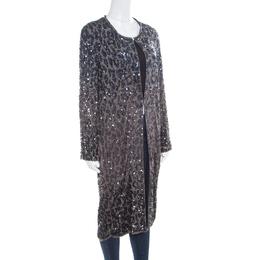 Lanvin Grey Sequin Embellished Long Jacket M 171460