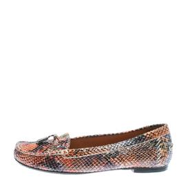 Stuart Weitzman Multicolor Python Embossed Leather Tassel Detail Loafers Size 38.5 172524