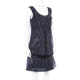 Oscar De La Renta Navy Blue Boucle Tweed Sleeveless Dress M 171924