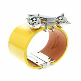 Dsquared2 Yellow Leather Silver Tone Wide Cuff Bracelet