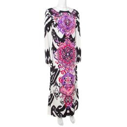 Emilio Pucci Multicolor Ikat Printed Silk Long Sleeve Maxi Dress M 172443