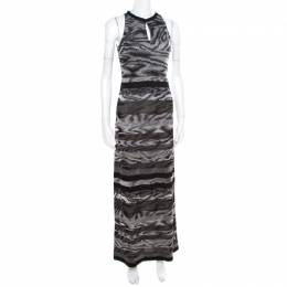 Missoni Grey Animal Pattern Lurex Knit Sleeveless Maxi Dress S 174758
